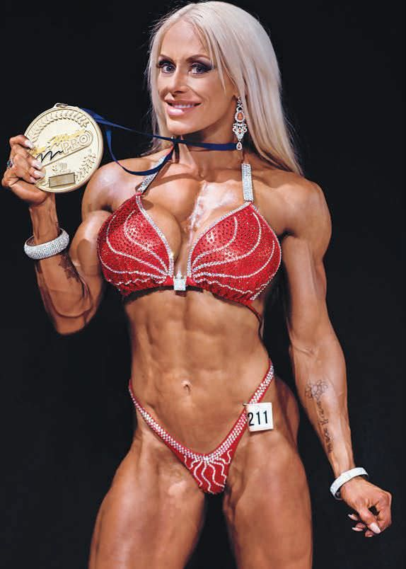 Femme fatale female bodybuilder, mature sex gown